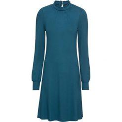 Sukienka shirtowa bonprix niebieskozielony morski. Zielone sukienki damskie bonprix, z dekoltem w serek. Za 99.99 zł.