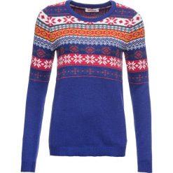 Sweter bonprix szafirowy wzorzysty. Niebieskie swetry damskie bonprix. Za 99.99 zł.