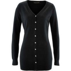 Długi sweter rozpinany bonprix czarny. Kardigany damskie marki bonprix. Za 74.99 zł.