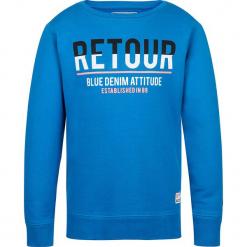 Bluza w kolorze niebieskim. Niebieskie bluzy dla chłopców marki Retour denim de Luxe, z nadrukiem, z bawełny. W wyprzedaży za 95.95 zł.