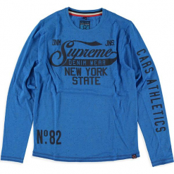 """Koszulka """"Walker"""" w kolorze niebieskim. Niebieskie t-shirty dla chłopców marki Cars Jeans, z bawełny, z długim rękawem. W wyprzedaży za 42.95 zł."""