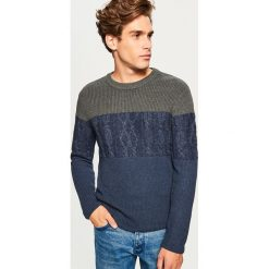 Sweter - Granatowy. Niebieskie swetry przez głowę męskie Reserved. Za 119.99 zł.