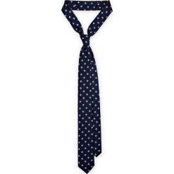 Krawat granatowy w kwiatki. Niebieskie krawaty i muchy LANCERTO, w kwiaty, z mikrofibry, eleganckie. Za 79.90 zł.