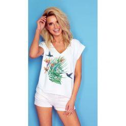 Bluzka t-shirt flower k173. Bluzki damskie Knitis, z dzianiny, klasyczne, z klasycznym kołnierzykiem, z krótkim rękawem. Za 69.00 zł.