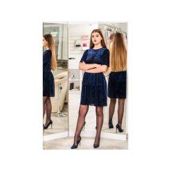 Sukienka STYL. Niebieskie sukienki damskie 3 for u, z tkaniny, klasyczne, z klasycznym kołnierzykiem. Za 220.00 zł.