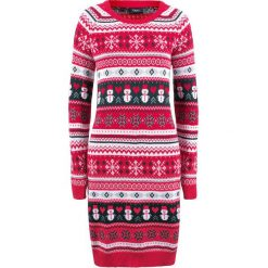 Sukienka dzianinowa bonprix czerwony wzorzysty. Czerwone sukienki damskie bonprix, z dzianiny. Za 99.99 zł.