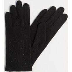 Wełniane rękawiczki z dżetami - Czarny. Czarne rękawiczki damskie Mohito, z wełny. Za 49.99 zł.