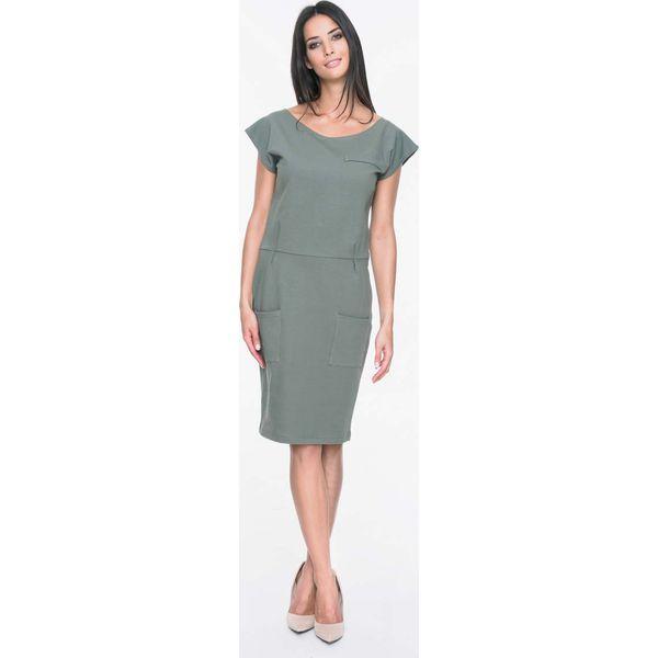 b7ccd6c615 Khaki Sukienka Dresowa z Nakładanymi Kieszeniami - Sukienki damskie ...