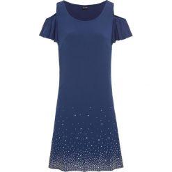 Sukienka z wycięciami na ramionach i sztrasami bonprix kobaltowy. Niebieskie sukienki damskie bonprix. Za 129.99 zł.