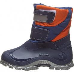 """Botki zimowe """"Simon"""" w kolorze niebiesko-pomarańczowym. Brązowe buty zimowe chłopięce Spirale, z materiału. W wyprzedaży za 79.95 zł."""