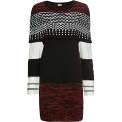 Sukienka dzianinowa wzorzysta bonprix czarno-biało-czerwony wzorzysty. Czarne sukienki damskie bonprix, w kolorowe wzory, z dzianiny, z krótkim rękawem. Za 99.99 zł.
