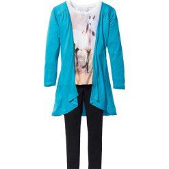 Shirt, kardigan + legginsy (3 części) bonprix ciemnoturkusowo-biel wełny - czarny. Legginsy dla dziewczynek bonprix, z materiału. Za 74.99 zł.