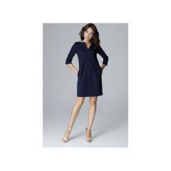 Sukienka L004 Granat. Niebieskie sukienki damskie Lenitif, dekolt w kształcie v. Za 169.00 zł.