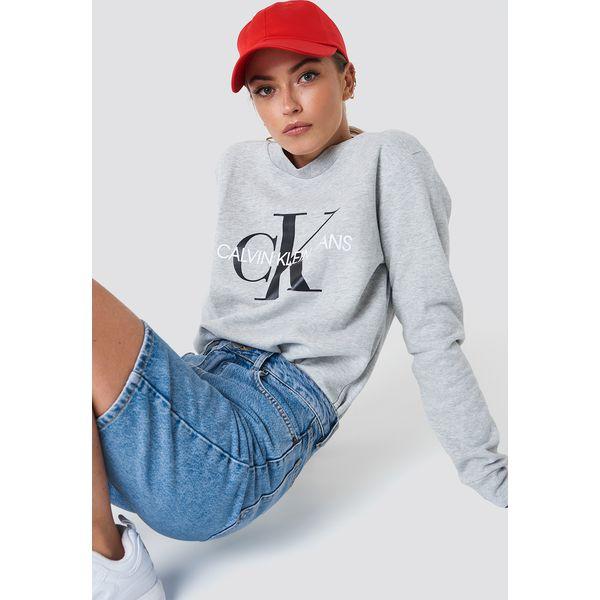 a85d5884e5dcd Calvin Klein Bluza Core Monogram Logo - Grey - Bluzy damskie marki ...