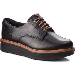 Oxfordy CLARKS - Teadale Rhea 261284394 Black Leather. Czarne półbuty damskie Clarks, ze skóry. W wyprzedaży za 229.00 zł.