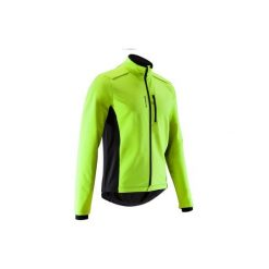 Kurtka zimowa na rower szosowy ROADCYCLING 100 męska. Żółte kurtki męskie B'TWIN, na zimę. Za 99.99 zł.