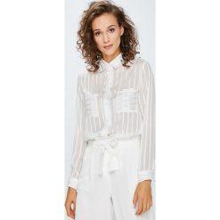 Answear - Koszula. Szare koszule damskie ANSWEAR, w paski, z poliesteru, casualowe, z klasycznym kołnierzykiem, z długim rękawem. W wyprzedaży za 79.90 zł.