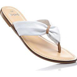 Klapki skórzane bonprix biało-wielbłądzia wełna. Klapki damskie marki Nike. Za 37.99 zł.