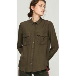 Koszula z kieszeniami - Khaki. Brązowe koszule damskie Sinsay. Za 59.99 zł.