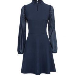 Sukienka z dżerseju z szyfonowymi rękawami bonprix ciemnoniebieski. Niebieskie sukienki damskie bonprix, z dżerseju. Za 129.99 zł.