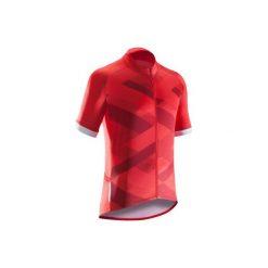 Koszulka krótki rękaw na rower ROADC 500 X męska. Czerwone koszulki sportowe męskie B'TWIN, z elastanu, z krótkim rękawem. Za 79.99 zł.