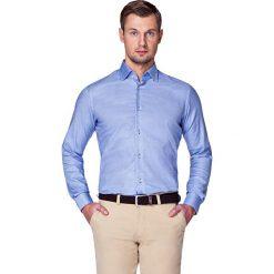 Koszula Granatowa w Pepitę Zamur. Niebieskie koszule męskie LANCERTO, z bawełny. W wyprzedaży za 199.90 zł.