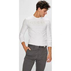 Guess Jeans - Longsleeve. Szare bluzki z długim rękawem męskie Guess Jeans, z aplikacjami, z bawełny, z okrągłym kołnierzem. Za 159.90 zł.