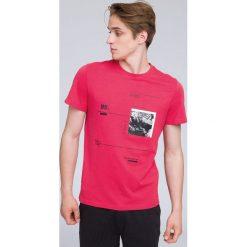 T-shirt męski TSM223 - koral. Różowe t-shirty męskie 4f, z bawełny. W wyprzedaży za 39.99 zł.