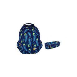 Plecak + saszetka St.Right Peacock. Niebieskie torby i plecaki dziecięce St-Majewski, z materiału. Za 148.00 zł.