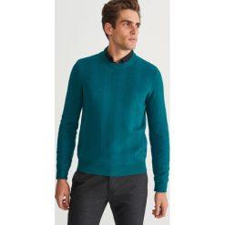 Sweter ze strukturalnej dzianiny - Turkusowy. Swetry przez głowę męskie marki Giacomo Conti. W wyprzedaży za 79.99 zł.