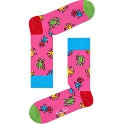 Happy Socks - Skarpety Keith Haring Dancing. Różowe skarpety damskie Happy Socks, z bawełny. W wyprzedaży za 34.90 zł.