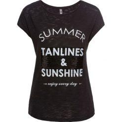 T-shirt z cekinami bonprix czarny z nadrukiem. T-shirty damskie marki DOMYOS. Za 37.99 zł.