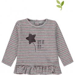 Koszulka w kolorze szarym. Szare bluzki dla dziewczynek bellybutton, z nadrukiem, z bawełny, z dekoltem na plecach. W wyprzedaży za 49.95 zł.