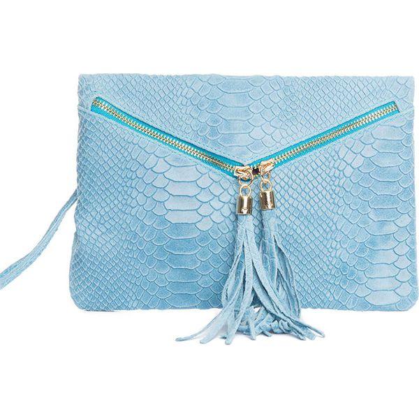53c99ae7574fd Skórzana kopertówka w kolorze błękitnym - 27 x 18 x 3 cm ...