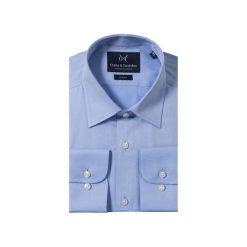 KOSZULA BLUE CLASSIC. Niebieskie koszule męskie Guns&tuxedos, z kwadratowym dekoltem, z krótkim rękawem. Za 129.99 zł.