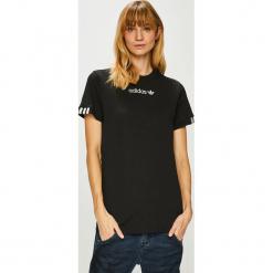 Adidas Originals - Top. Czarne topy damskie adidas Originals, z bawełny, z okrągłym kołnierzem, z krótkim rękawem. Za 129.90 zł.