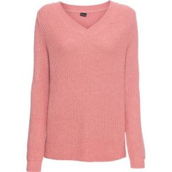 Sweter z dekoltem w serek bonprix jasnoróżowy melanż. Swetry damskie marki bonprix. Za 109.99 zł.