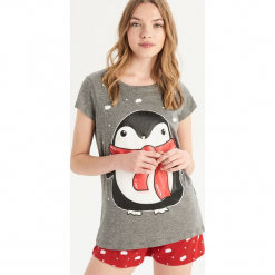 Dwuczęściowa piżama z pingwinem - Szary. Szare piżamy damskie Sinsay. Za 39.99 zł.