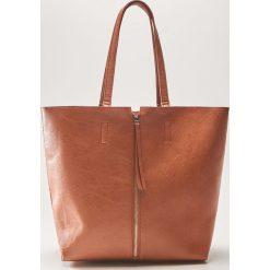 Torba shopper z ozdobnym zamkiem - Brązowy. Brązowe torebki shopper damskie House. Za 79.99 zł.