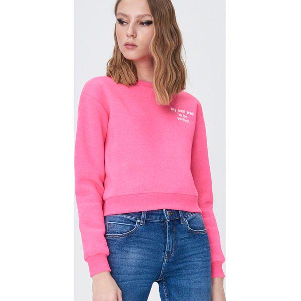 Sinsay Krótka bluza z kapturem Różowy