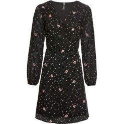 Sukienka kopertowa bonprix czarny z nadrukiem. Czarne sukienki damskie bonprix, w kropki, z kopertowym dekoltem. Za 99.99 zł.
