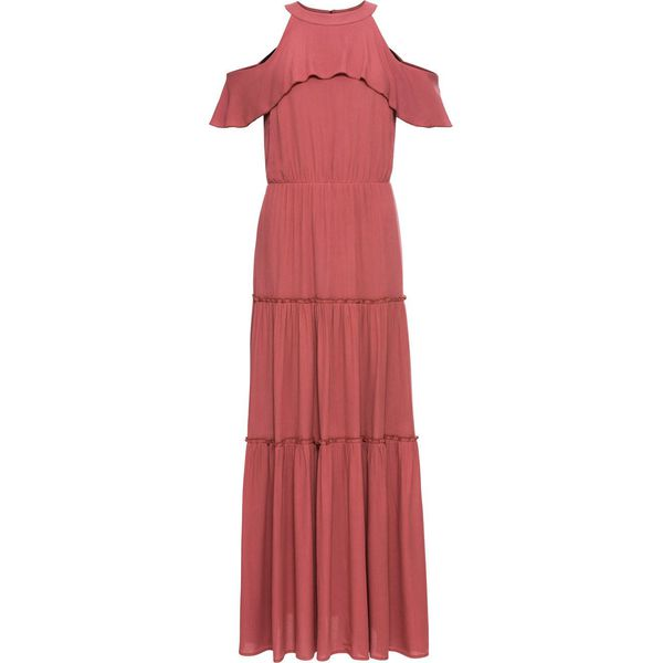 60c27ea500 Długa sukienka z falbaną bonprix rabarbarowy - Sukienki damskie ...