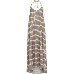 Sukienka z ramiączkami wiązanymi na szyi bonprix brunatno-kremowy z nadrukiem. Brązowe sukienki damskie bonprix, z nadrukiem. Za 109.99 zł.