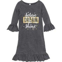 Koszula nocna z brokatowym nadrukiem bonprix antracytowy melanż z nadrukiem. Szare koszule nocne damskie bonprix, melanż. Za 44.99 zł.