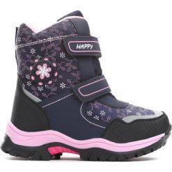 Granatowe Śniegowce Projection. Niebieskie buty zimowe dziewczęce Born2be, z materiału. Za 89.99 zł.