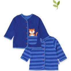 Dwustronny kardigan w kolorze granatowo-niebieskim. Swetry dla chłopców marki Reserved. W wyprzedaży za 102.95 zł.