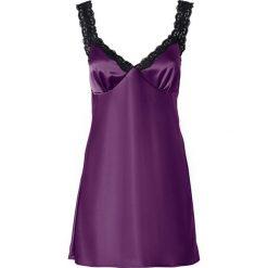 Koszulka nocna bonprix fiołkowo-czarny. Fioletowe koszule nocne damskie bonprix, w koronkowe wzory, z koronki. Za 74.99 zł.