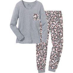 Piżama bonprix szary melanż - pudrowy jasnoróżowy z nadrukiem. Piżamy damskie marki MAKE ME BIO. Za 69.99 zł.
