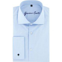 Koszula RICCARDO 15-11-30-K. Białe koszule męskie Giacomo Conti, w prążki, z materiału, z klasycznym kołnierzykiem, z długim rękawem. Za 229.00 zł.