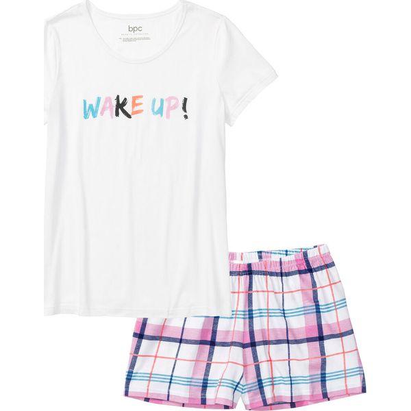 0f3d3360af8fe3 Piżama z krótkimi spodenkami bonprix biały w kratę - Piżamy damskie ...